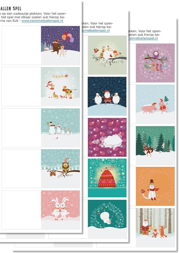 Kerst met Ballenspel - cadeaukaartjes tevens spelkaartjes - 30 stuks